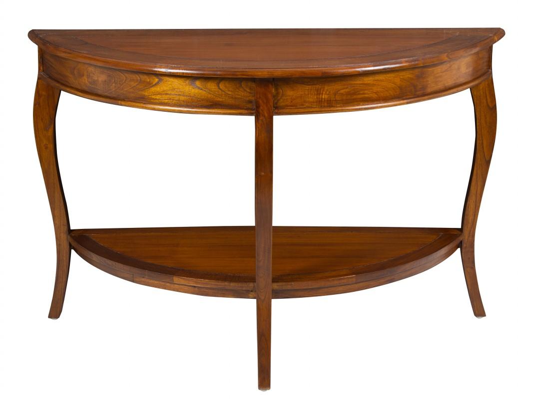 Consola media luna colonial de madera de acacia color nogal