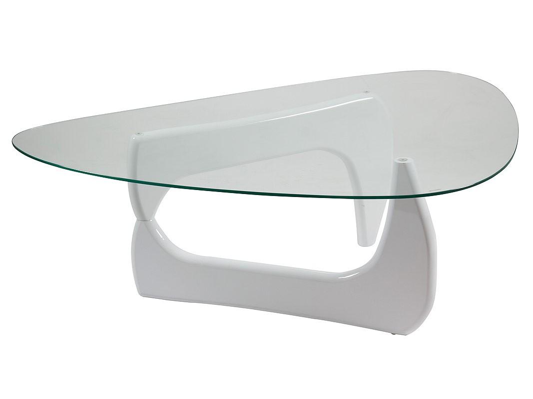 Mesa centro ovalada de cristal con base DM lacado en blanco