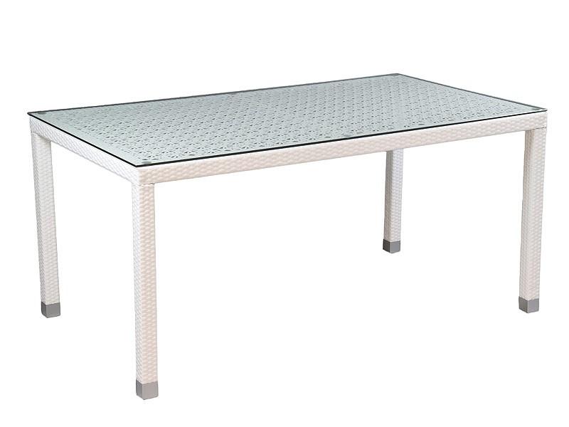 Mesa para el jardn de rattn color blanco y base de cristal