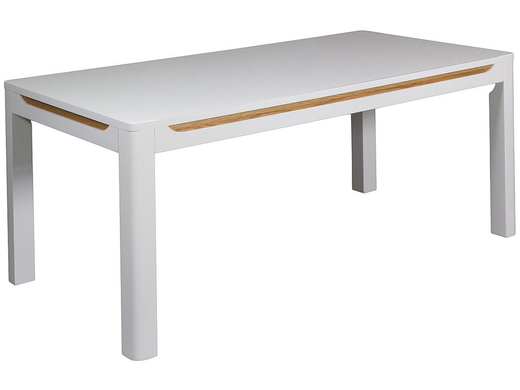 Mesa salncomedor blanca esquinas redondeadas y franjas