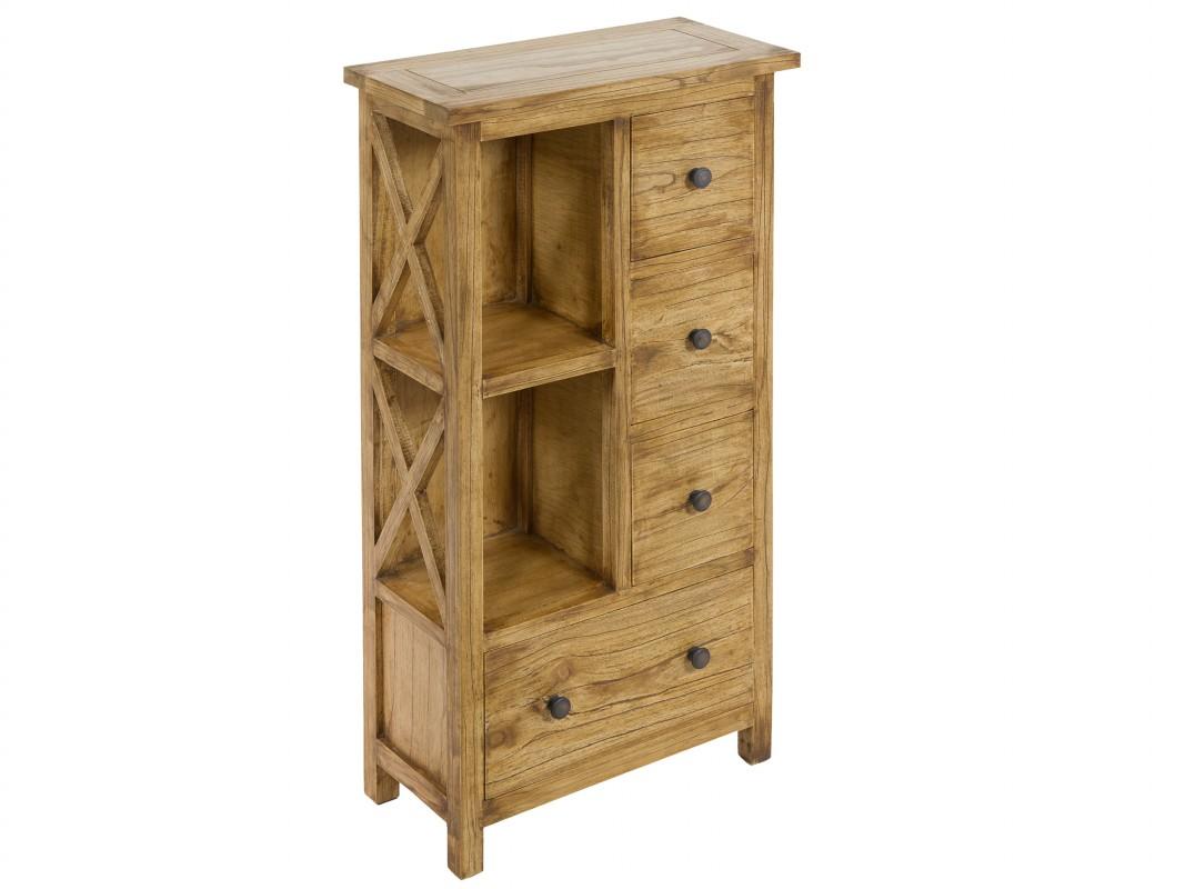 Mueble auxiliar rstico de madera envejecida con 4 cajones