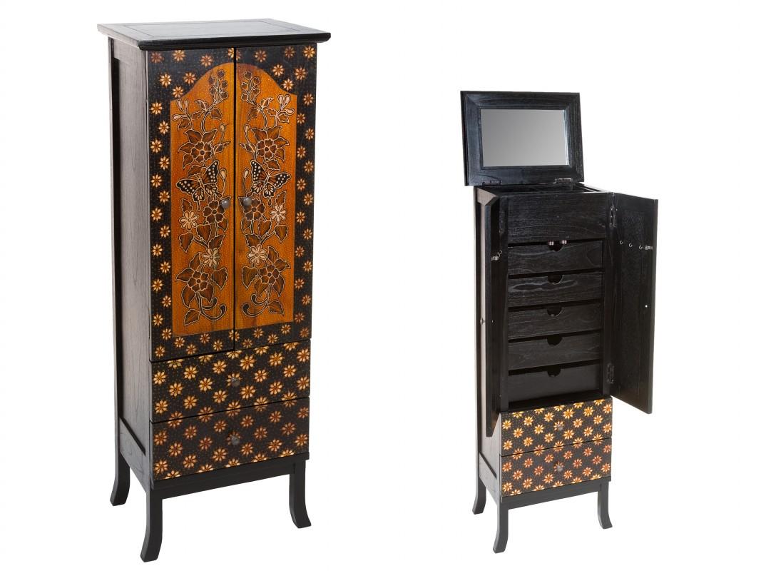 Mueble joyero de pie estampado floral de madera de mindi color nogal y negro
