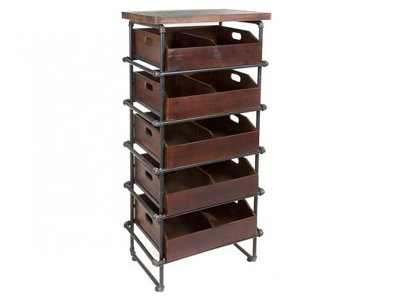 Mesa auxiliar irregular de madera de teca y metal