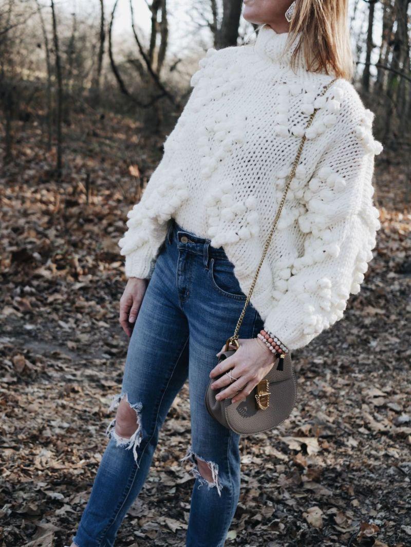 White Turtleneck Pom Pom Sweater