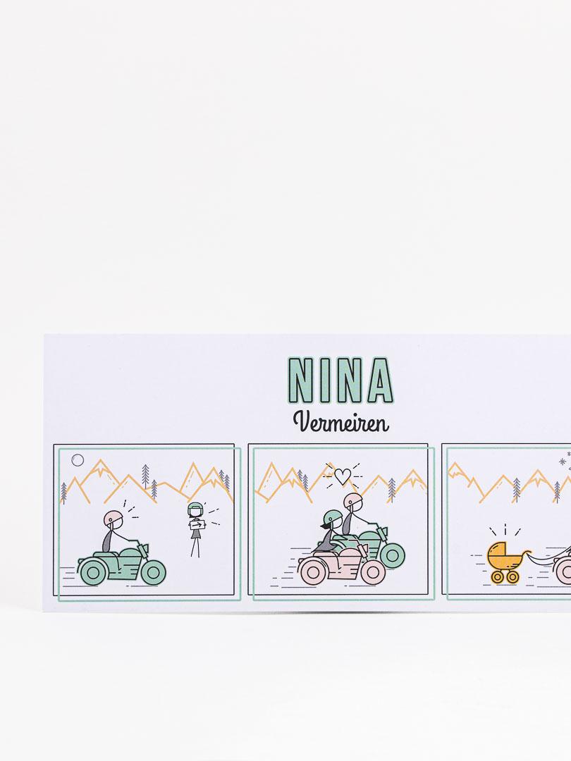 geboortekaartje op maat nina illustratie grafisch ontwerp oh deer design