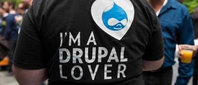 A guy wearing t-shirt with I'm Drupal Lover