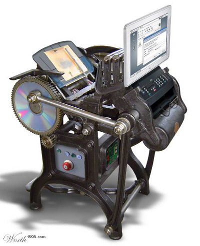 image of an old printing press with attached computer
