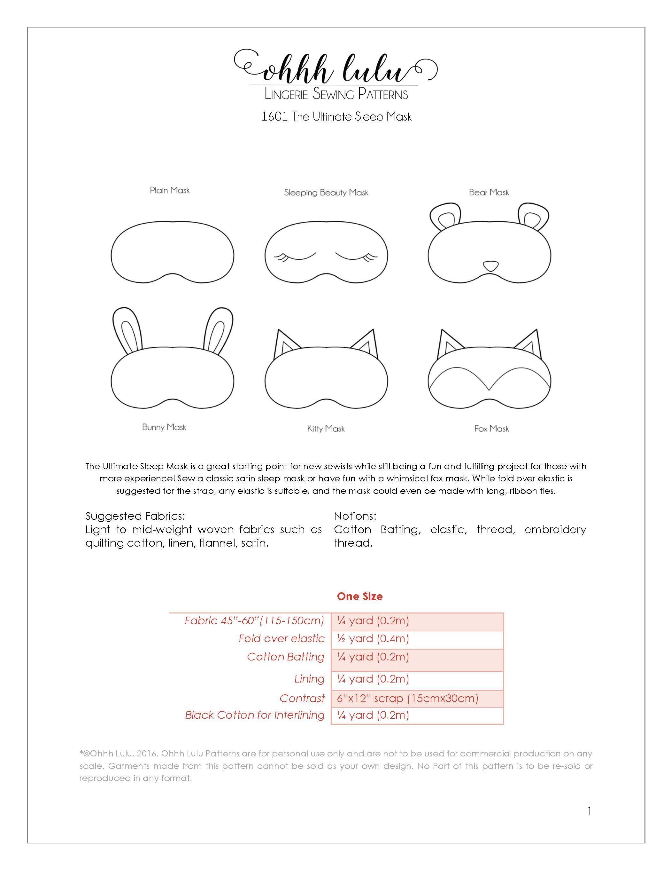 The Ultimate Sleep Mask PDF Sewing Pattern – Ohhh Lulu