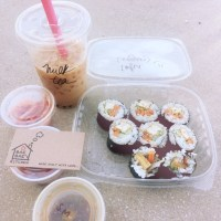 kimbap & kimchi & milk tea, 대박!