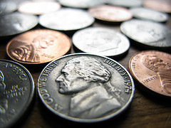 Nickels Dimes and Pennies Spread Out