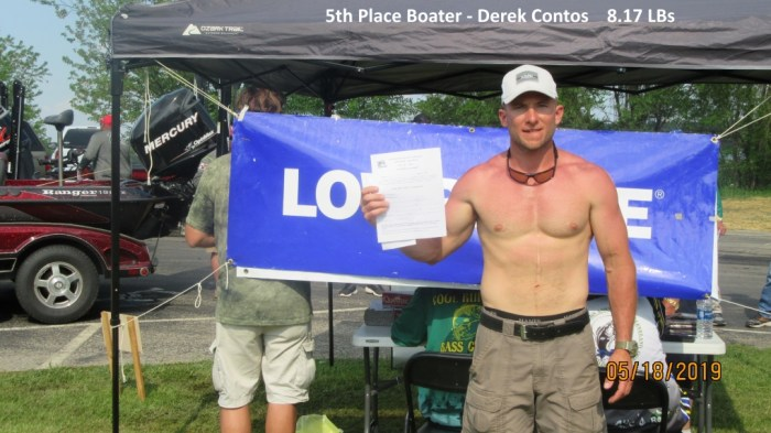 5th Place Boater - Derek Contos  8.17 LBs