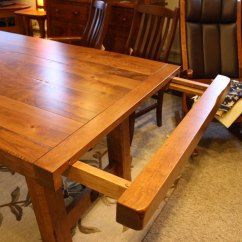 Hickory Chair Furniture S Shaped Dining Chairs Settler's Trestle Table - Ohio Hardwood