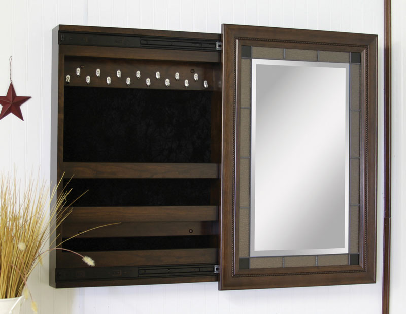 Compact Wall Mounted Jewelry Box with Sliding Mirror
