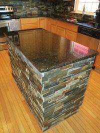 Finished Kitchen Island after Granite and Slate Tile ...
