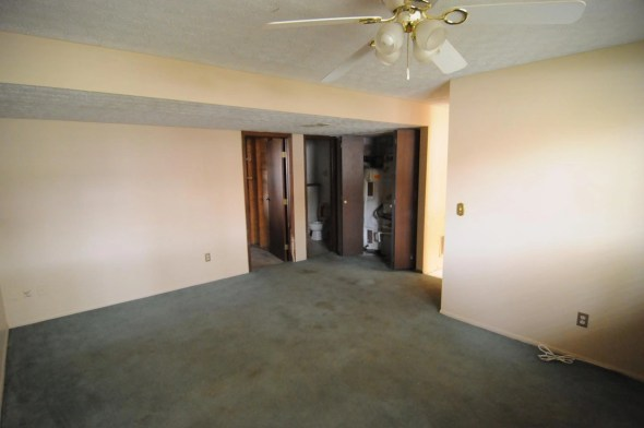 Half bath and laundry directly off of the family room