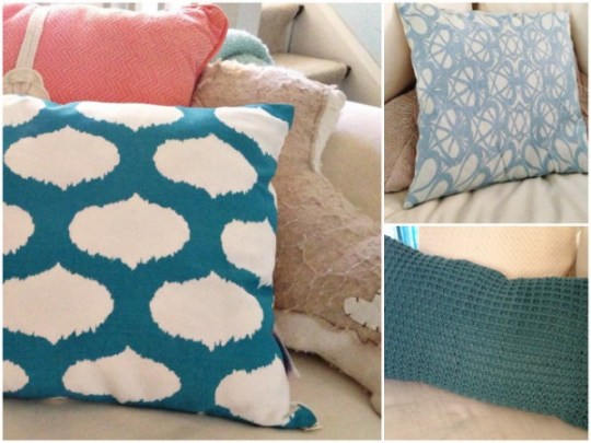tips for updating your living: change your throw pillows space