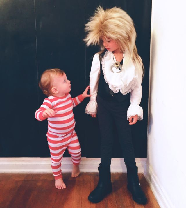 Jareth the Goblin King & Toby from The Labyrinth | Kid Halloween Costume Ideas; Charlie & Calvin | Oh Lovely Day
