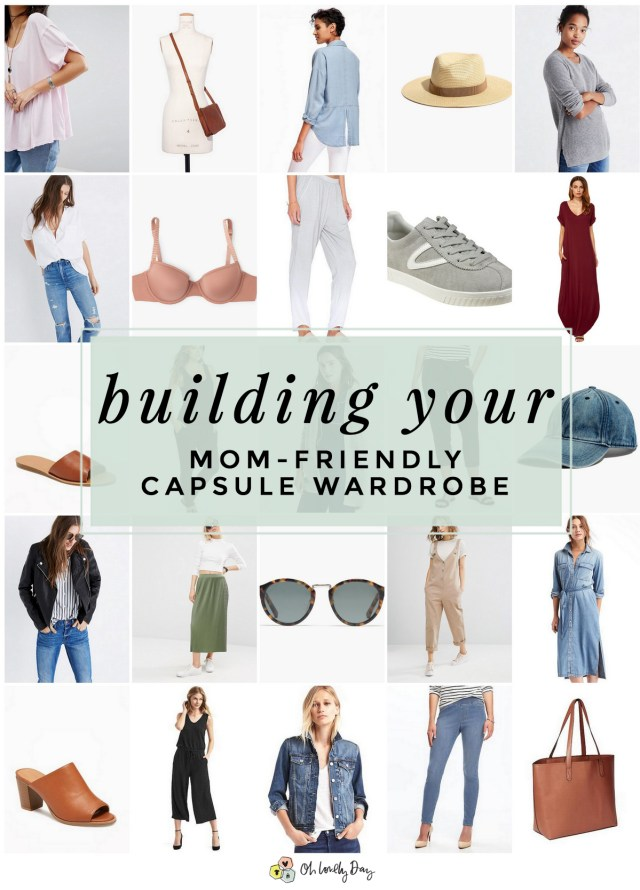 Such great tips for simplifying your closet and wardrobe by building a capsule wardrobe that is stylish and mom-friendly! Shares basics, that you can use to build your wardrobe that are budget-friendly, comfortable, baby wearing and nursing friendly, and stylish too. Must pin for moms (or any woman)