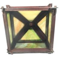 Oak Framed Craftsman Lamp Shade w/ Slag Glass Panels
