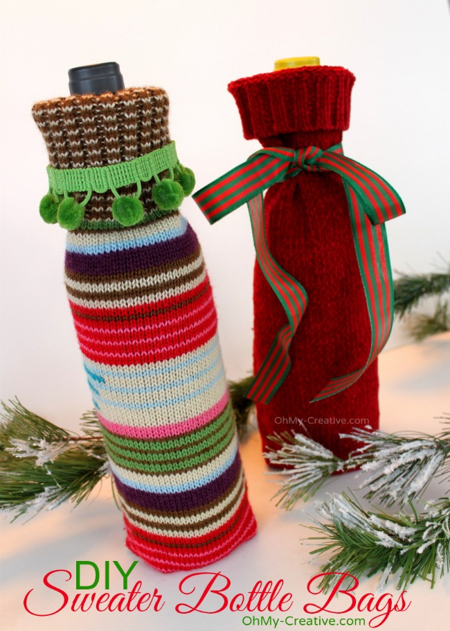 DIY Sweater Bottle Bags made from sweater sleeves | OhMy-Creative.com