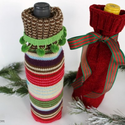 DIY – Recycled Sweater Wine Bottle Gift Bags