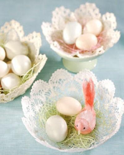 Spring Bird Nest Doily Baskets