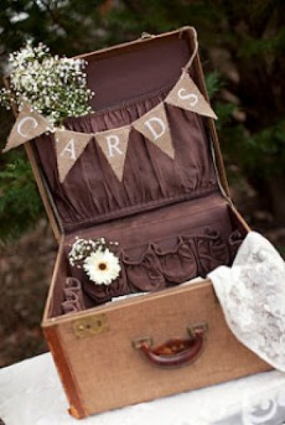Vintage Suitcase Wedding Card Box included in these 20 DIY Vintage Suitcase Projects and Repurposed Suitcases. Create unique home decor using repurposed old suitcases! | OHMY-CREATIVE.COM