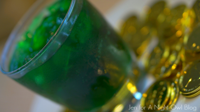 St. Patrick's day themed green drink featuring vanilla, mint, and and green food coloring.
