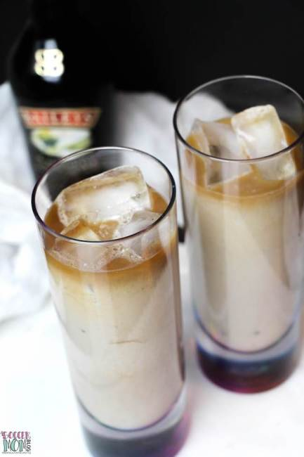 Bailey's Iced Coffee with Vietnamese Coffee, bailey's, and ice cubes in a tall glass