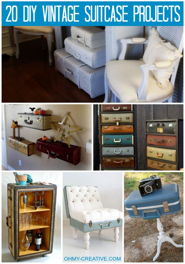 20 DIY Vintage Suitcase Projects and Repurposed Suitcases. Create unique home decor using repurposed old suitcases! | OHMY-CREATIVE.COM