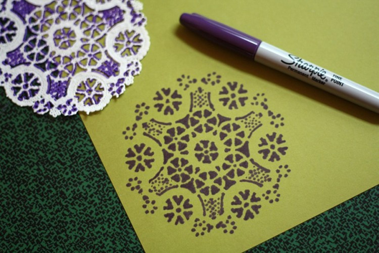 Use a doily as a stencil with a sharpie