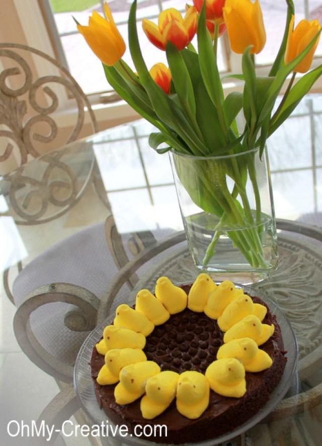 Sunflower Peep Brownies | OHMY-CREATIVE.COM