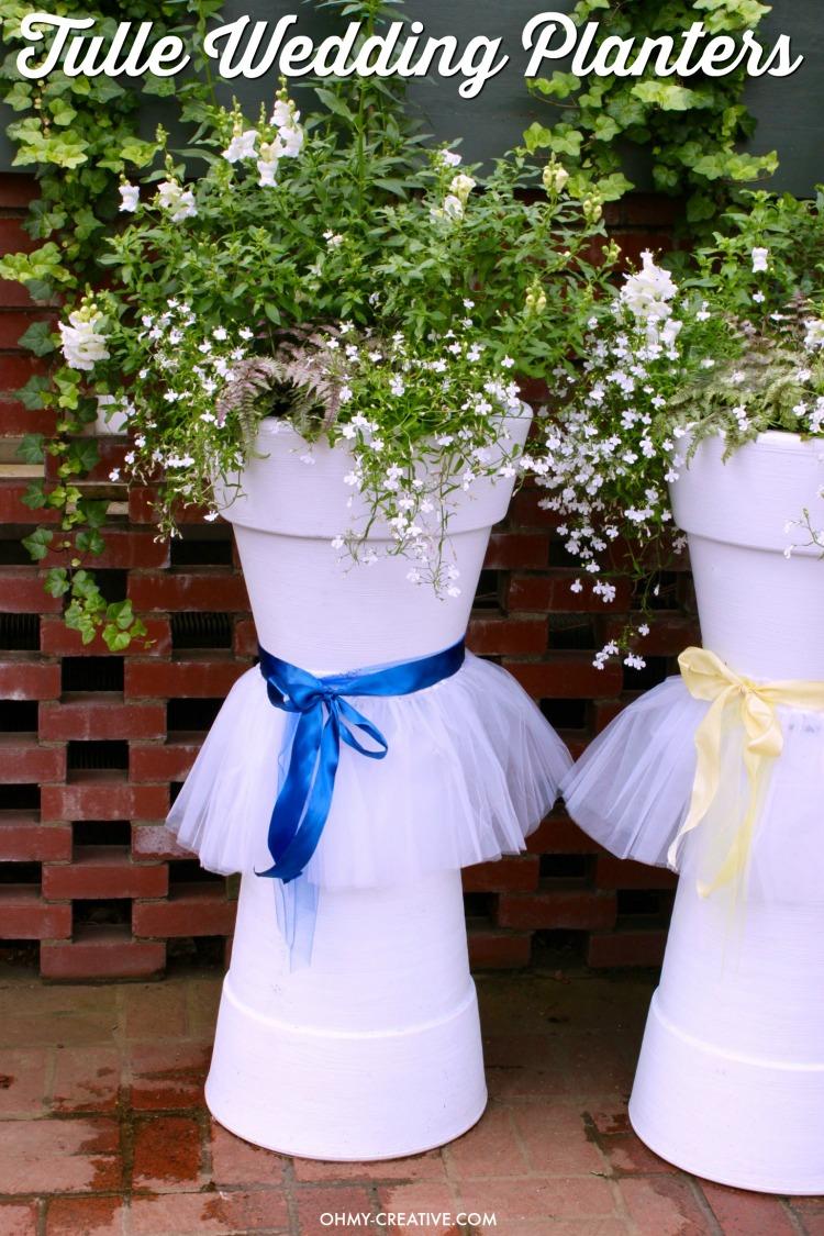 Tulle DIY Wedding Flower Pots