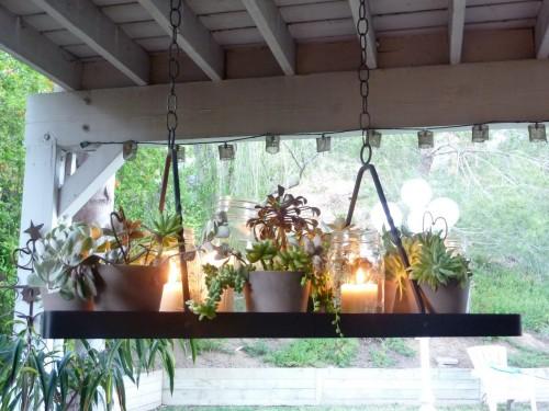 Diy outdoor succulent candle lighting