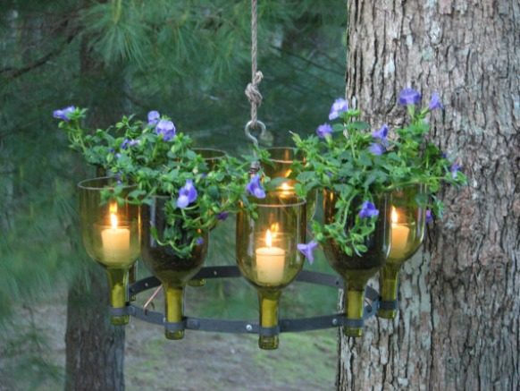 wine bottle outdoor chandelier