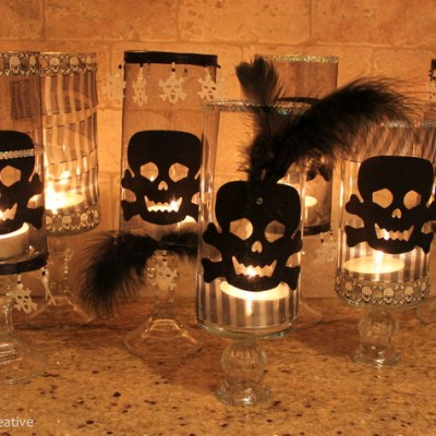 Halloween Skull Candle Holders