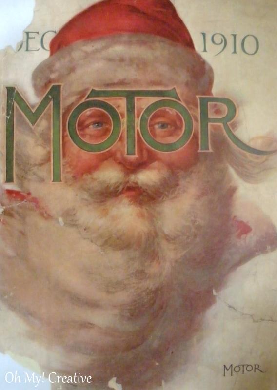 Vintage Santa Illustration from a 1910 Motor Magazine used as Christmas Decor  |  OHMY-CREATIVE.COM