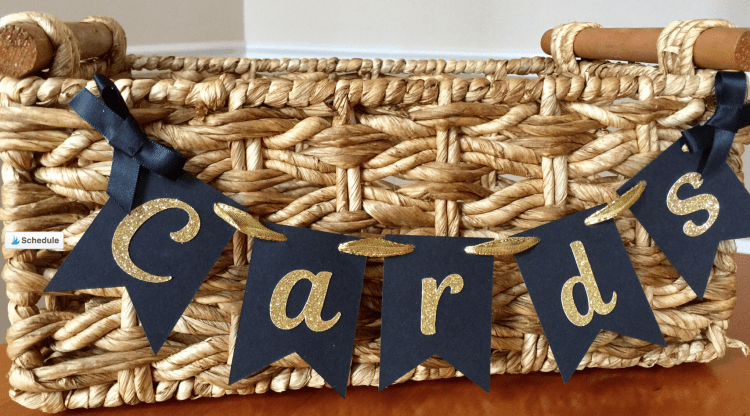 Graduation Party Cards Banner for graduation card basket. Graduation party decorations. #graduationpartyideas #graduationparty #gradparty