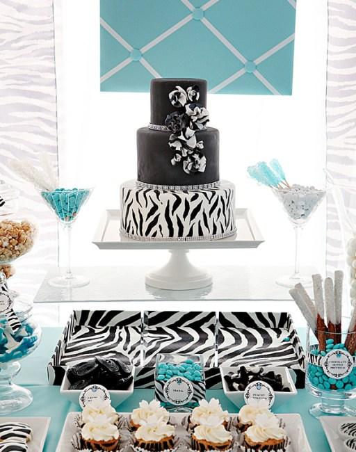 Tiffany Zebra Milestone Birthday Party 30th, 40th, 50th, 60th Birthdays
