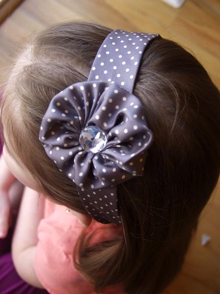 Necktie Rosette Girls Headband