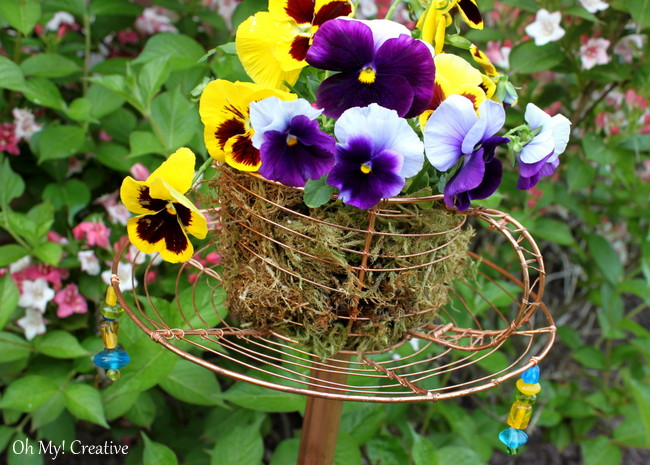Goodwill Trash To Treasure Teacup Garden Stake - a great repurposed or upcyle project and DIY garden decor! | OHMY-CREATIVE.COM