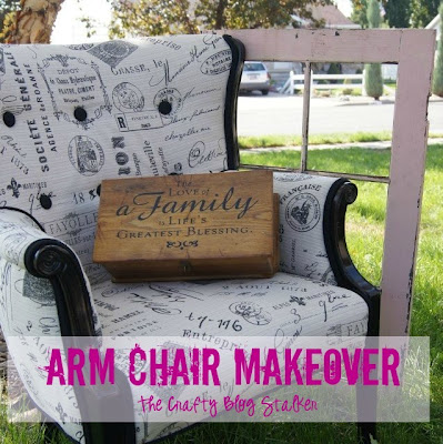 Arm Chair Reupholstery Makeover