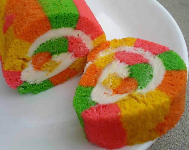 multi-colored cake roll