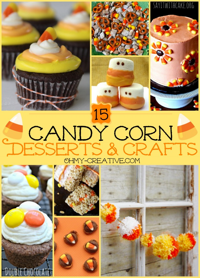 15 Candy Corn Desserts & Crafts - OhMy-Creative.com | Candy Corn Cupcakes | Candy Corn Desserts | Candy Corn Crafts | Halloween Rice Krispie Treats | Halloween Treats | Candy Corn Marshmallows | Candy Corn Recipe | Candy Corn Cookies