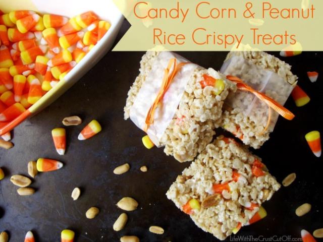 Candy Corn Peanut Rice Crispy Treats 15 Candy Corn Desserts & Crafts - OhMy-Creative.com | Candy Corn Cupcakes | Candy Corn Desserts | Candy Corn Crafts | Halloween Rice Krispie Treats | Halloween Treats | Candy Corn Marshmallows | Candy Corn Recipe