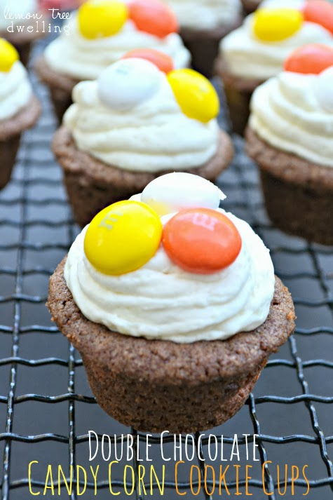 Double Chocolate Candy Corn Cookie Cups 15 Candy Corn Desserts & Crafts - OhMy-Creative.com | Candy Corn Cupcakes | Candy Corn Desserts | Candy Corn Crafts | Halloween Rice Krispie Treats | Halloween Treats | Candy Corn Marshmallows | Candy Corn Recipe