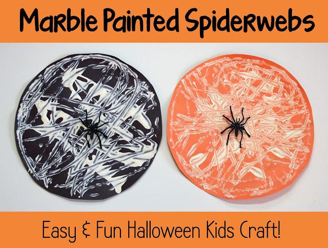 Halloween Kids Craft Marble Painted Spiderwebs
