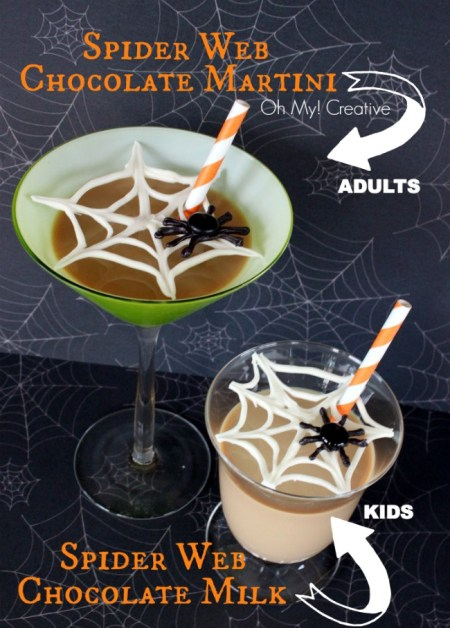 Chocolate Spider Web Drinks for Adults and Kids {Oh My Creative}