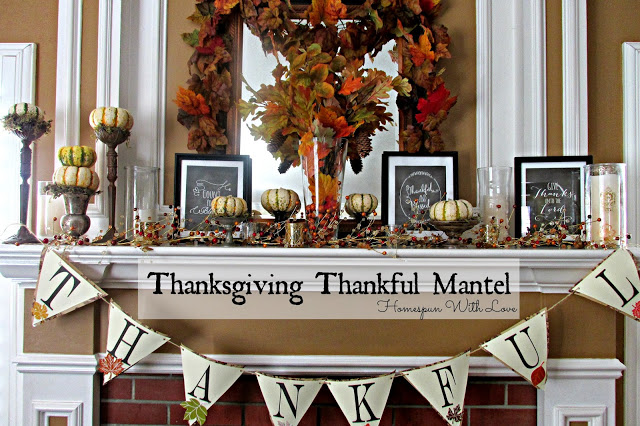 Give Thanks Thanksgiving Mantel