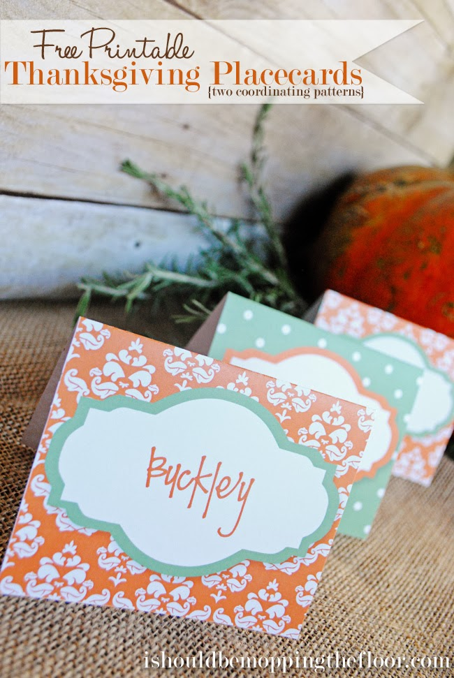 Thanksgiving printable placecards